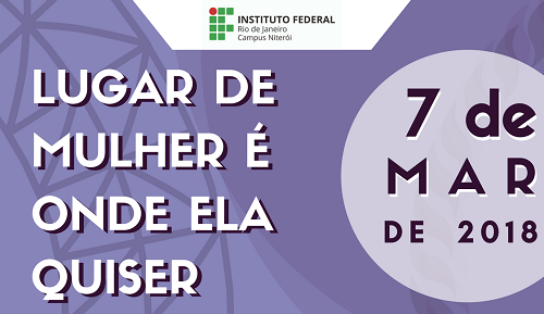 cartaz lilás, escrita em branco e roxo, com a logo do IFRJ Niterói