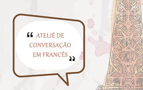 """torres eiffel escrito em marrom ao lado """"Ateliê de Conversação em Francês"""""""