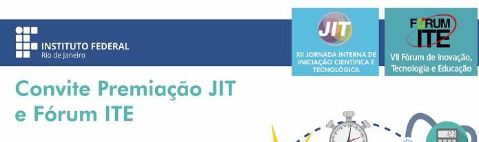 Convite para Premiação JIT e Fórum ITE - cartaz branco, com logo da JIT e do Fórum ITE e logo do IFRJ em branco, abaixo uma imagem que contém 3 livros empilhados, uma lâmpada, uma mão como se fosse mouse, um desenho do planeta Terra, uma maça, uma calculadora, entre outros desenhos, todos ligados por ponto, como se estivessem interligados).
