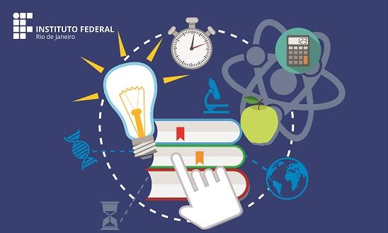 fundo azul marinho com uma pilha de 3 livros, uma lâmpada, um conômetro, uma maçã, uma calculadora, um microscópio e um átomo