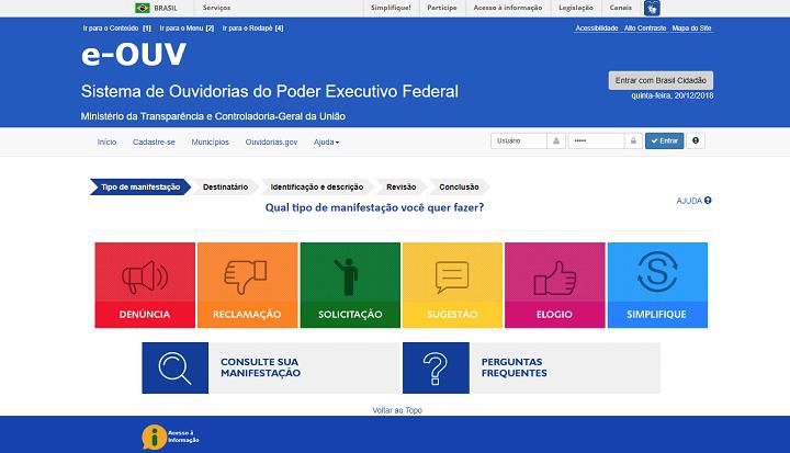 print do site do sistema e-Ouv