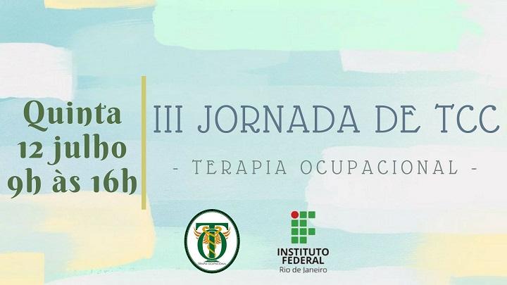 """cartaz em vários tons de verde, escrita em verde """"III jornada de tcc"""", logo do ifrj"""