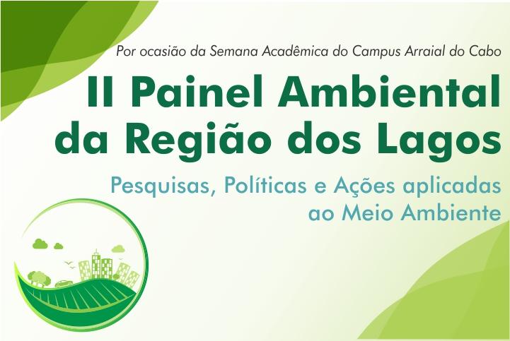"""Fundo branco com letras verdes, escrito: """"II Painel Ambiental da Região dos Lagos. Pesquisas, políticas e Ações aplicadas ao Meio Ambiente"""""""