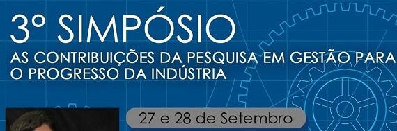 """cartaz em azul,escrita em branco """"3° Simpósio Gestão de Produção industrial"""""""