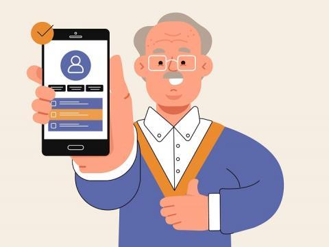 Ilustração mostra um homem idoso vestido de azul e segurando um celular com a tela virada para a frente
